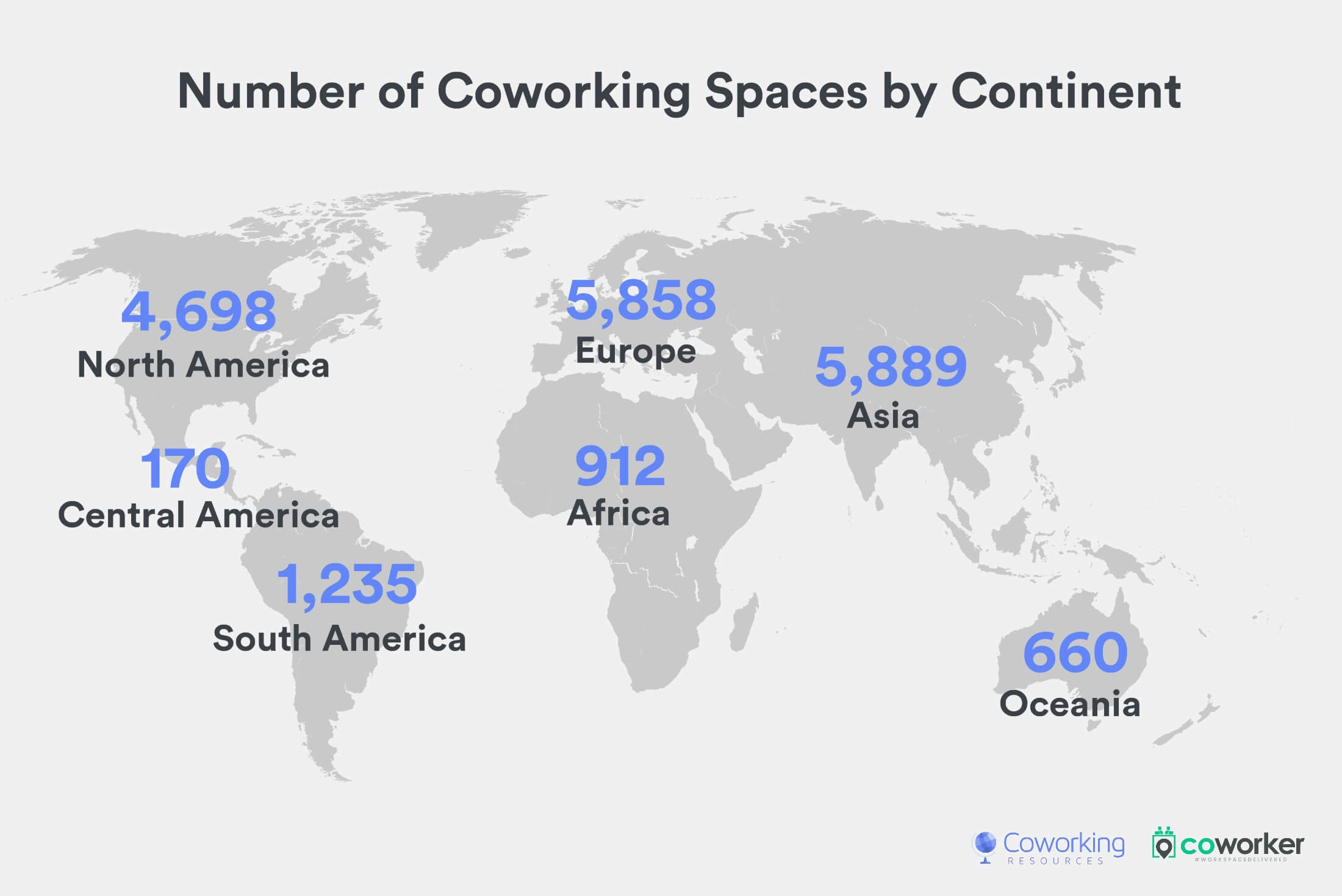 Coworking Map: Spaces by continent in 2020